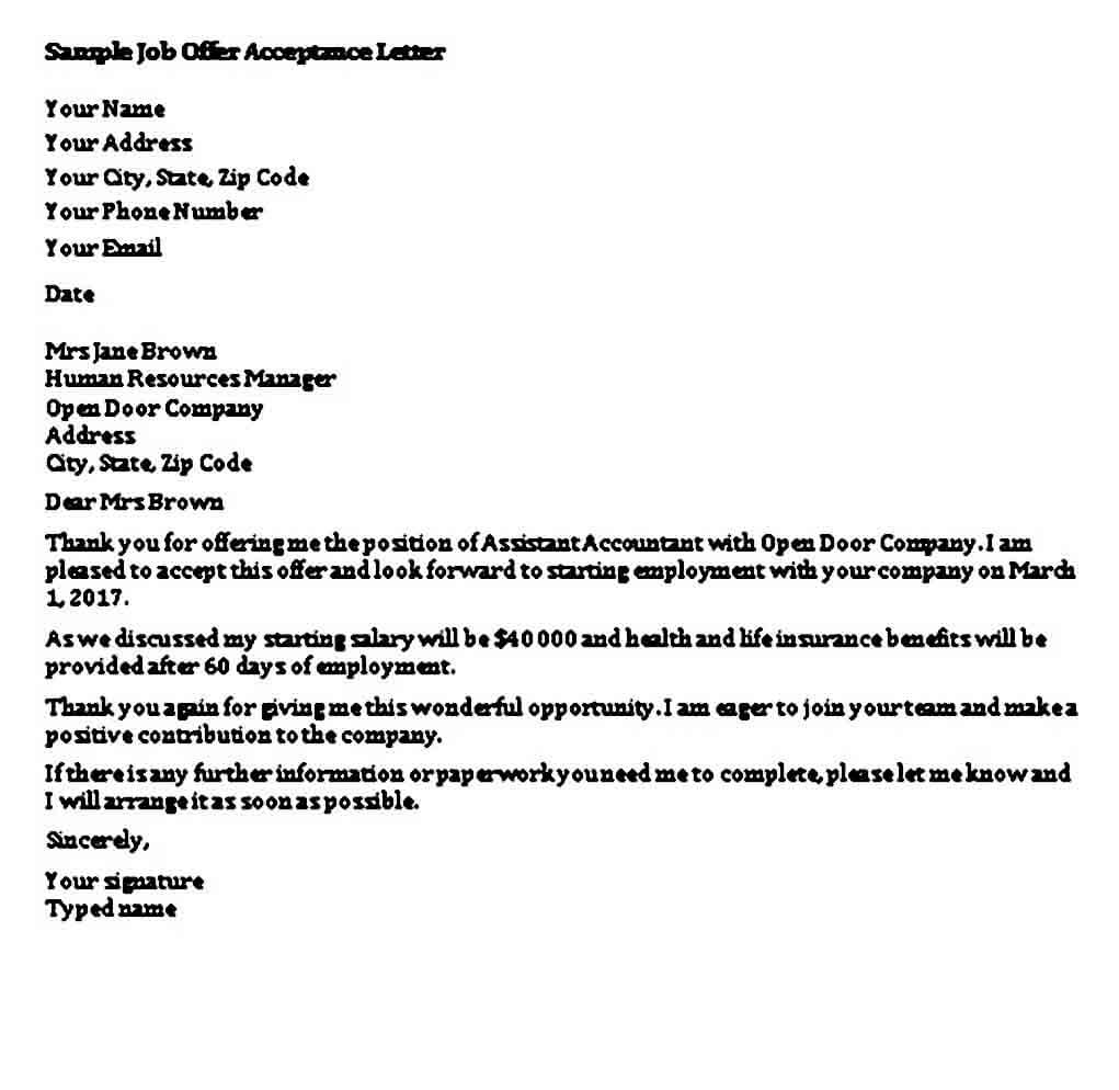 Job Offer Acceptance Letter Sample