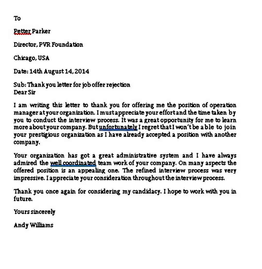 Job Offer Rejection Thank You Letter