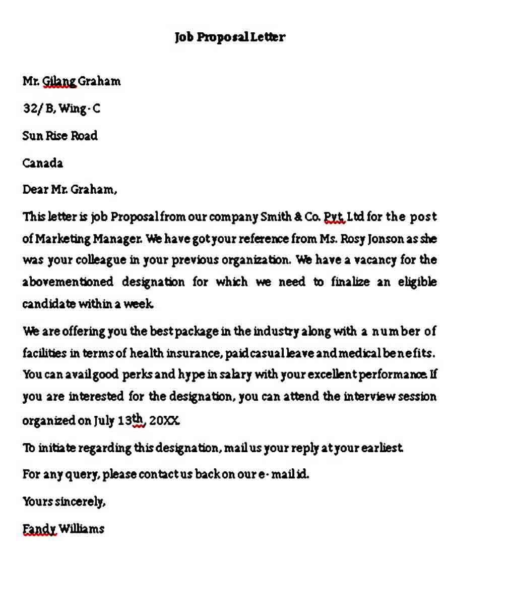 Job Proposal Letter templates