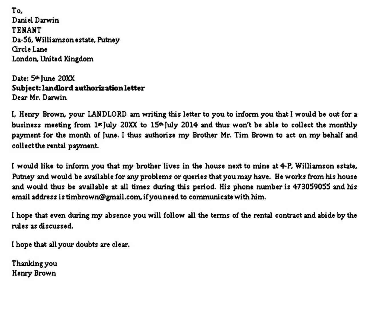 Landlord Authorization Letter