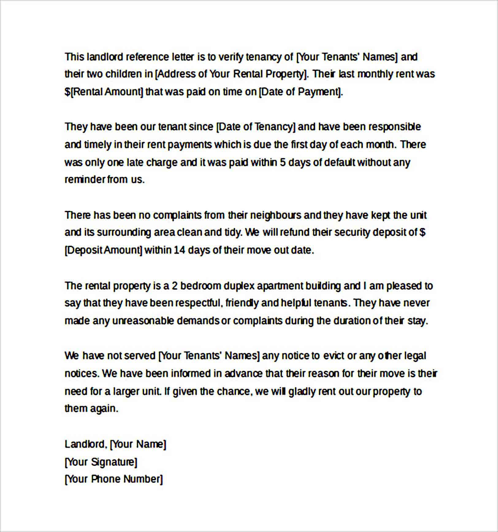 Landlord Reference Letter Request