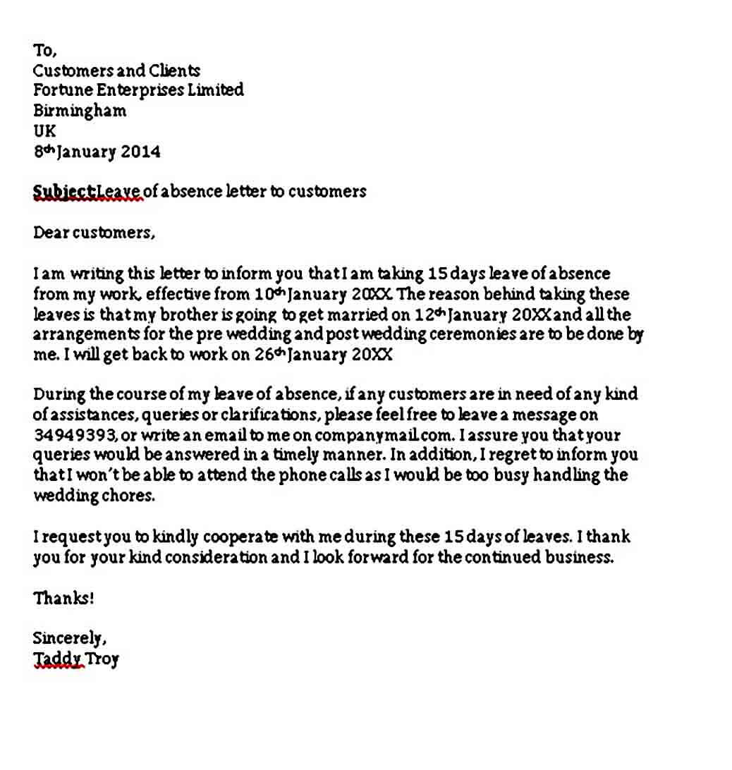 Leave of Absence Letter to Customers