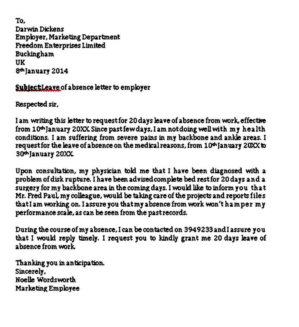 Leave of Absence Letter to Employer