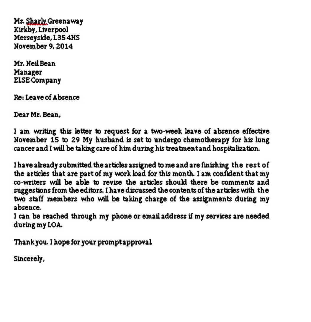 Sample Leave Of Absence Letter from moussyusa.com