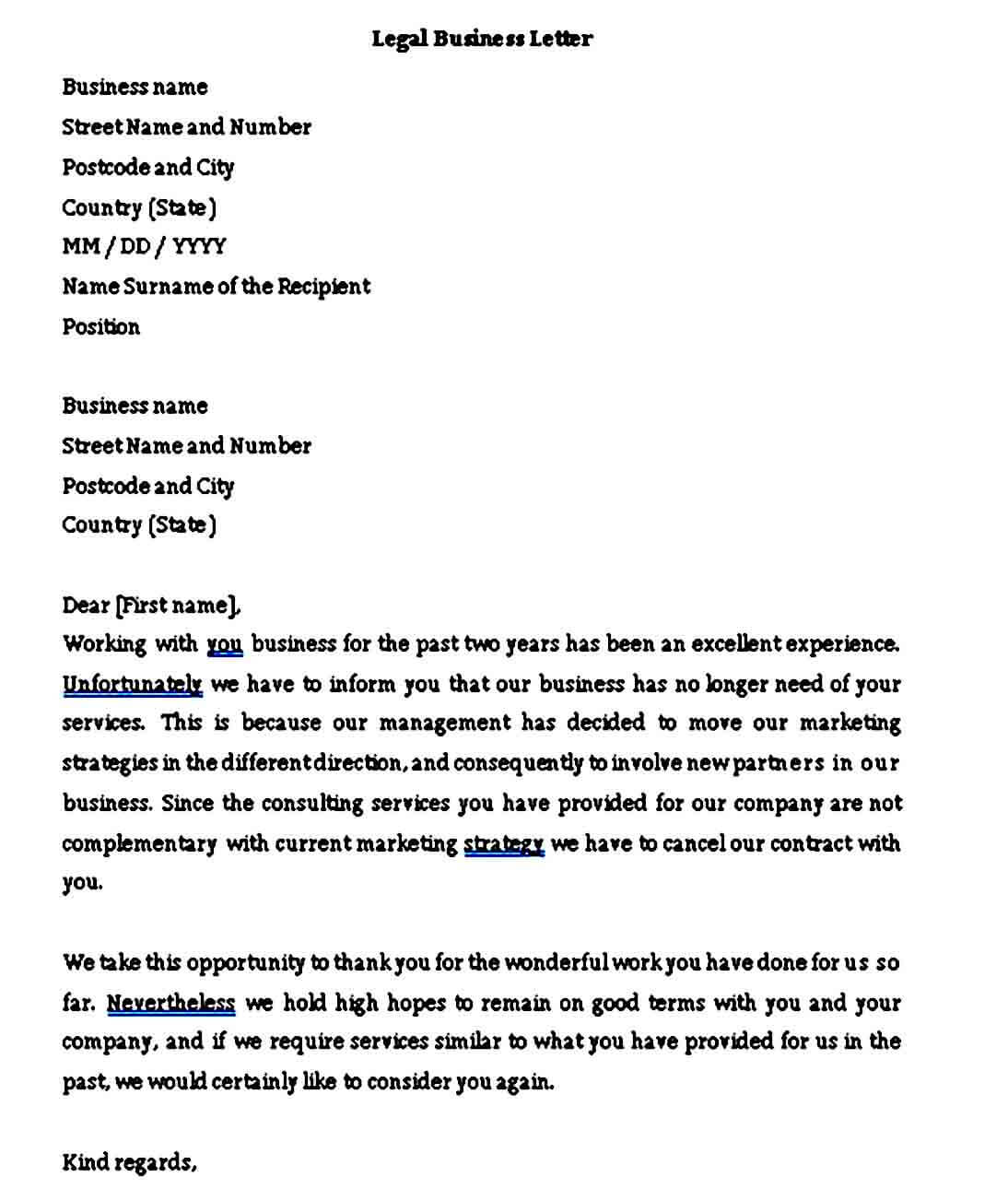 Legal Business Letter Format