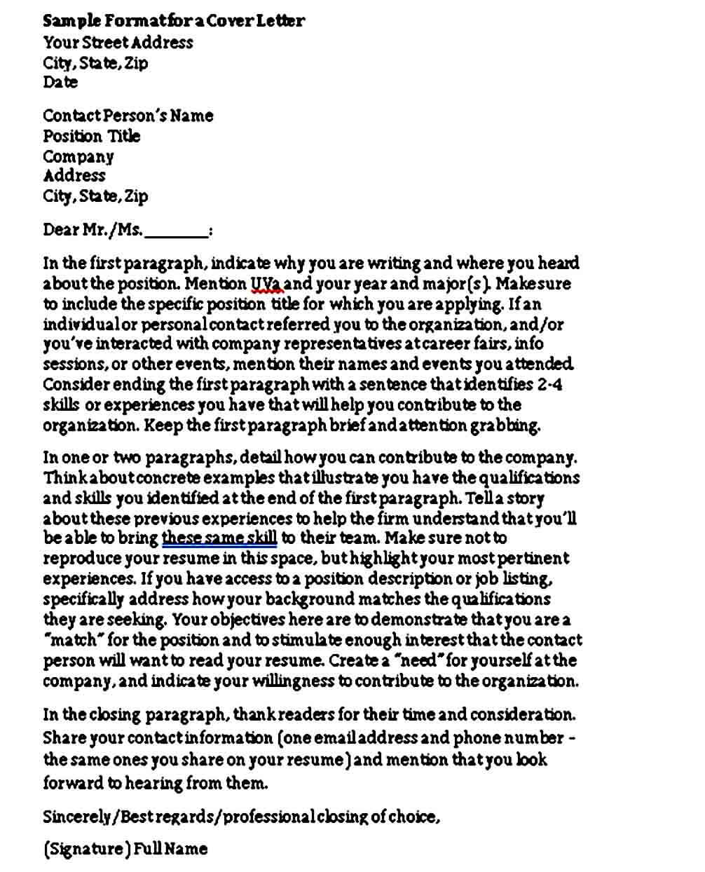 Letter Of Interest Cover Letter Format