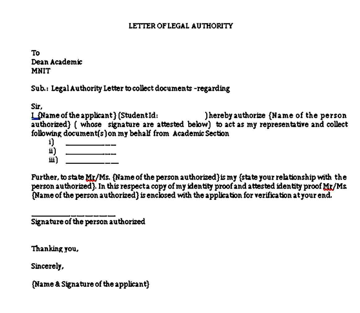 Letter of Legal Authority Format