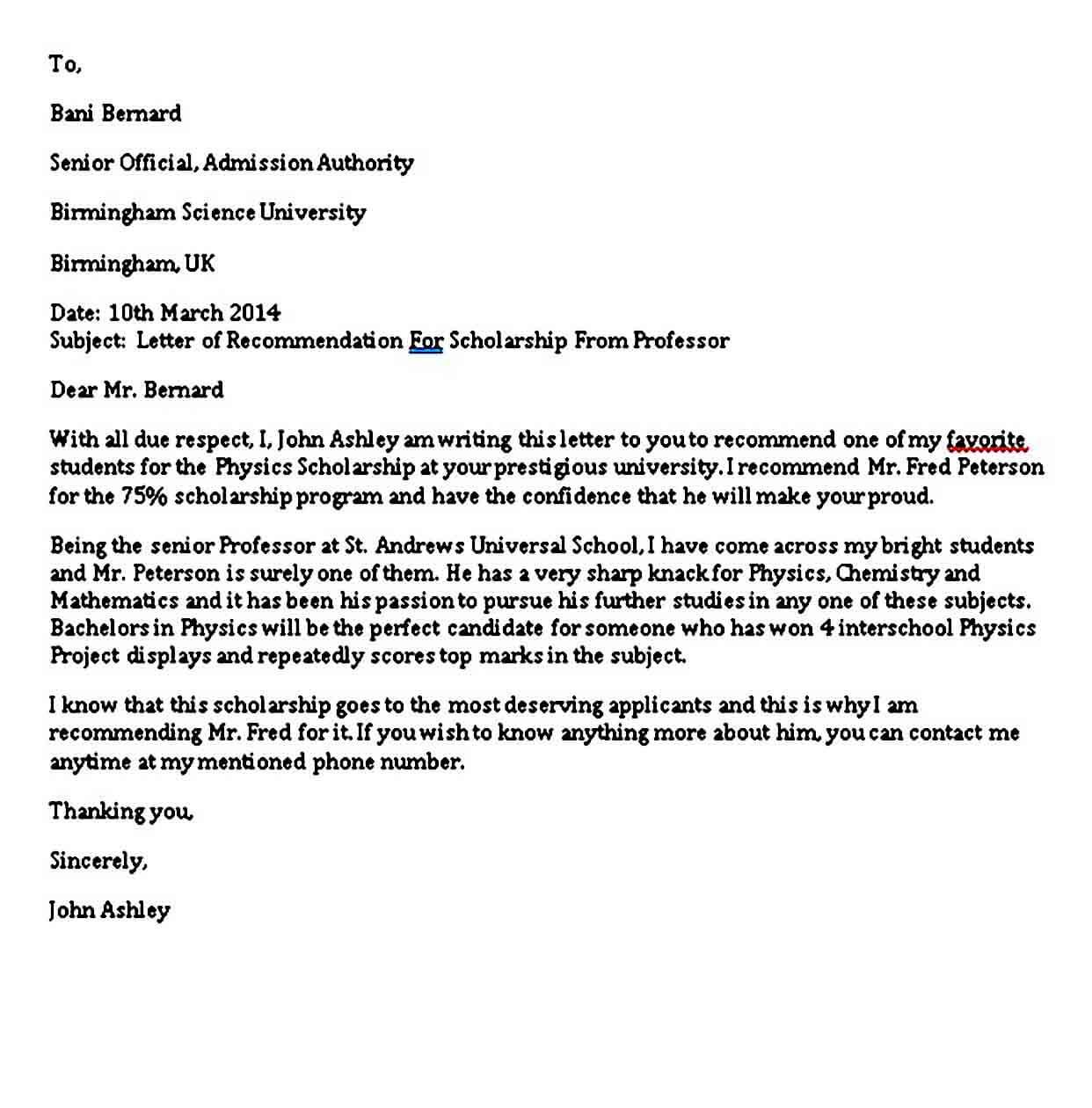 Letter of Recommendation For Scholarship From Professor
