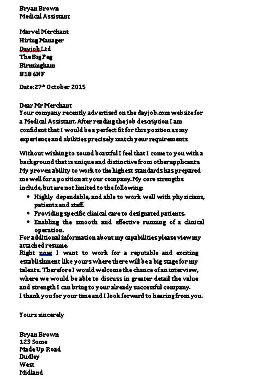 Medical Assistant Cover Letter with Experience