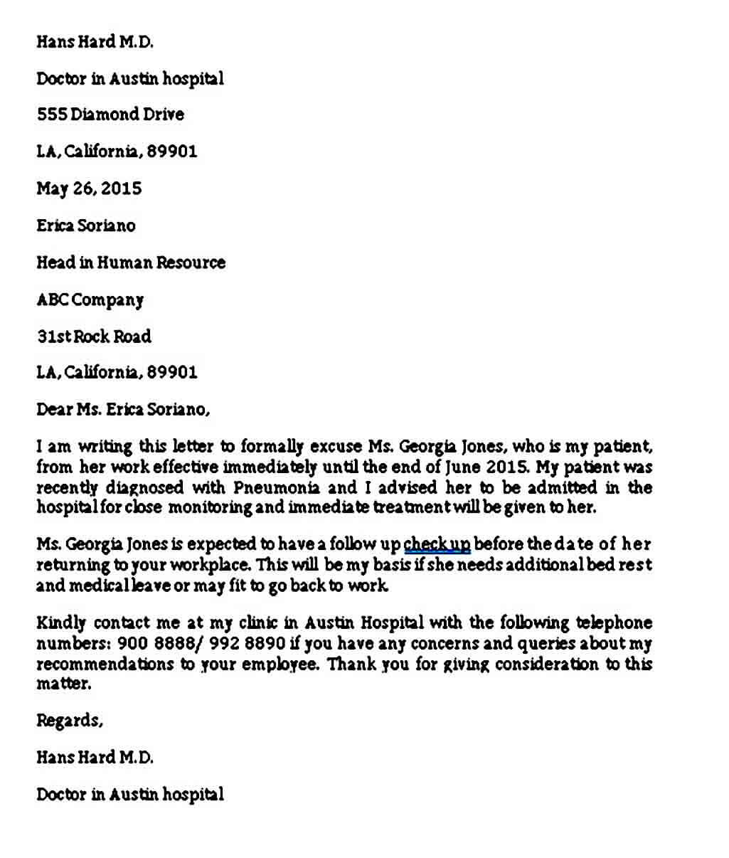 Medical Leave of Absence Letter from Doctor
