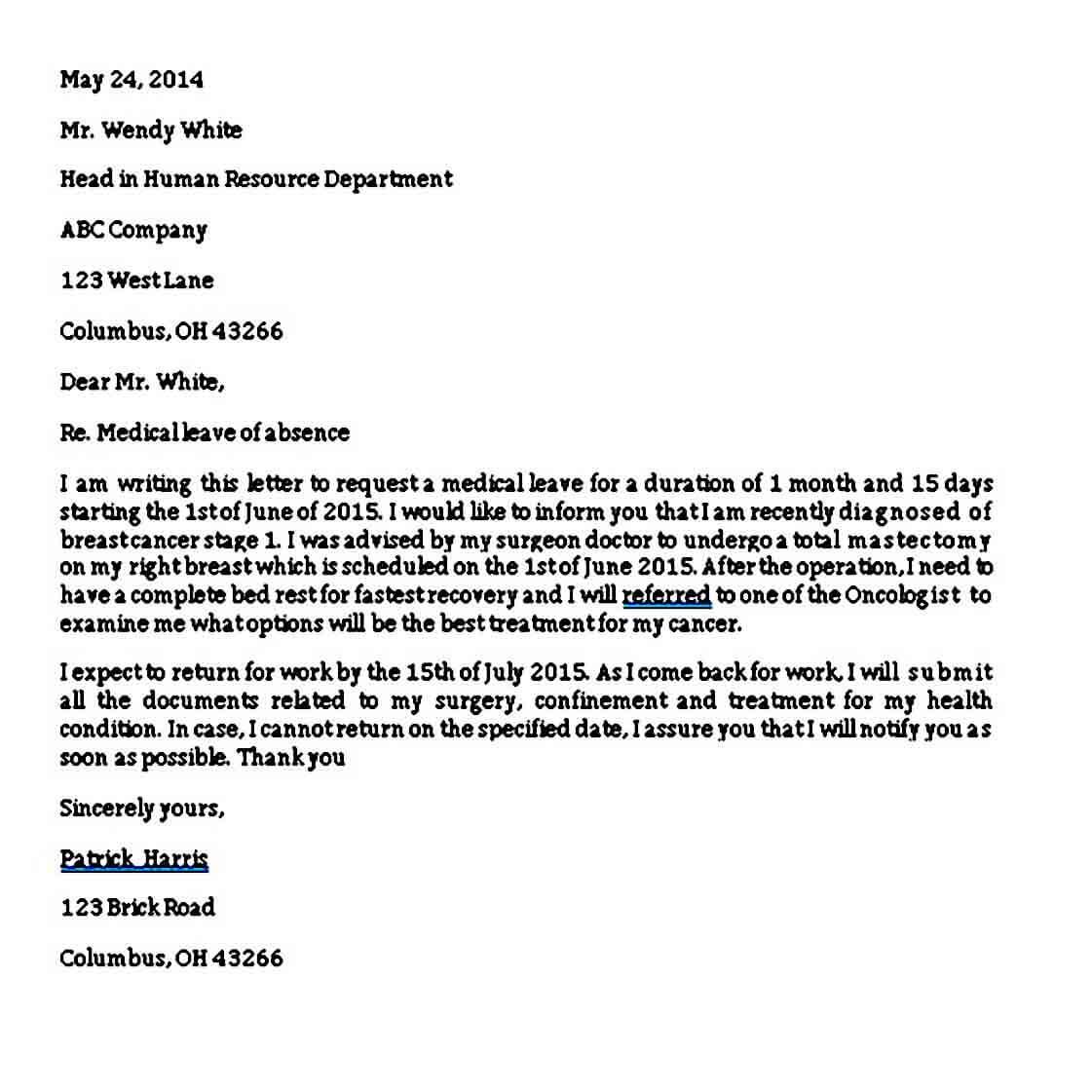 Medical Leave of Absence Letter