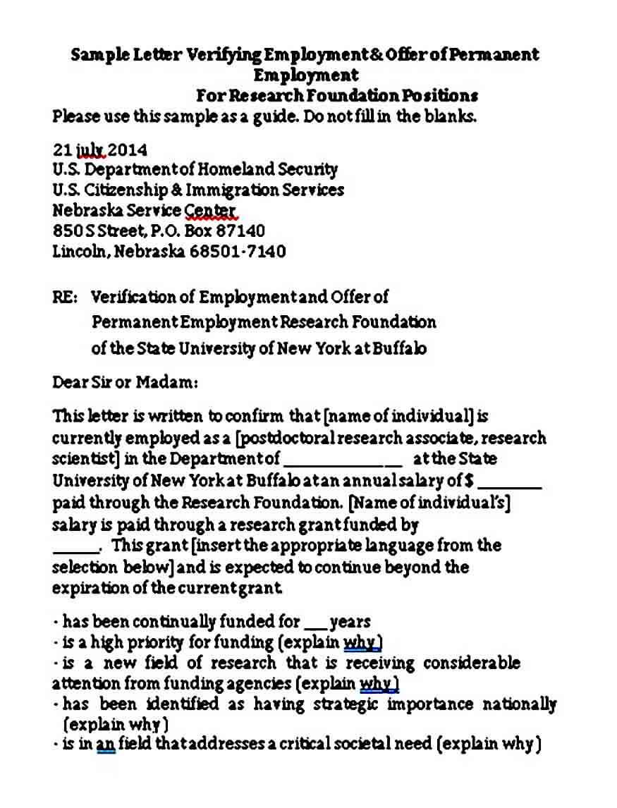 Permanent Employment Verification Letter