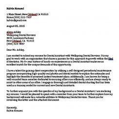 Printable Dental Assistant Cover Letter