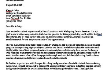 Printable Dental Assistant Cover Letter
