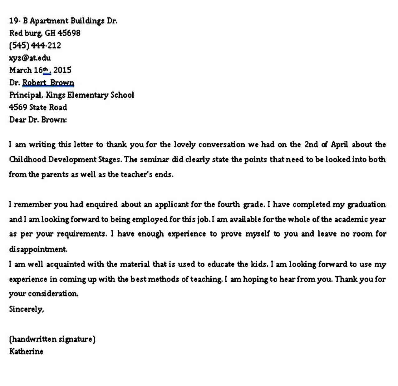 Professional Application letter Format