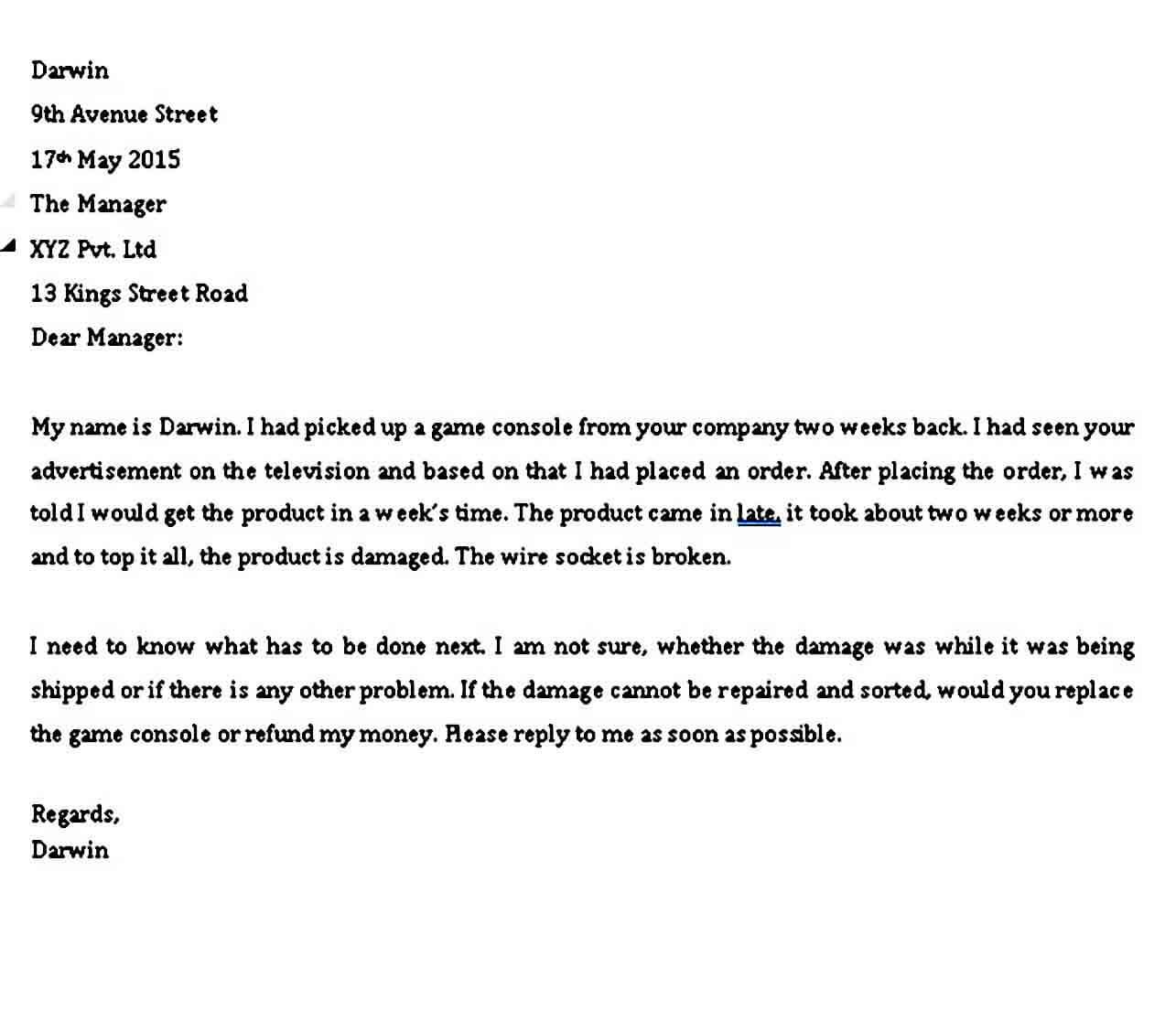 Professional complaint letter Format