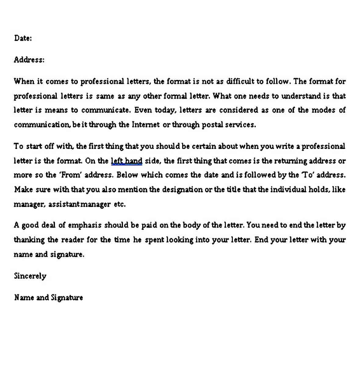 Professional letter format Example