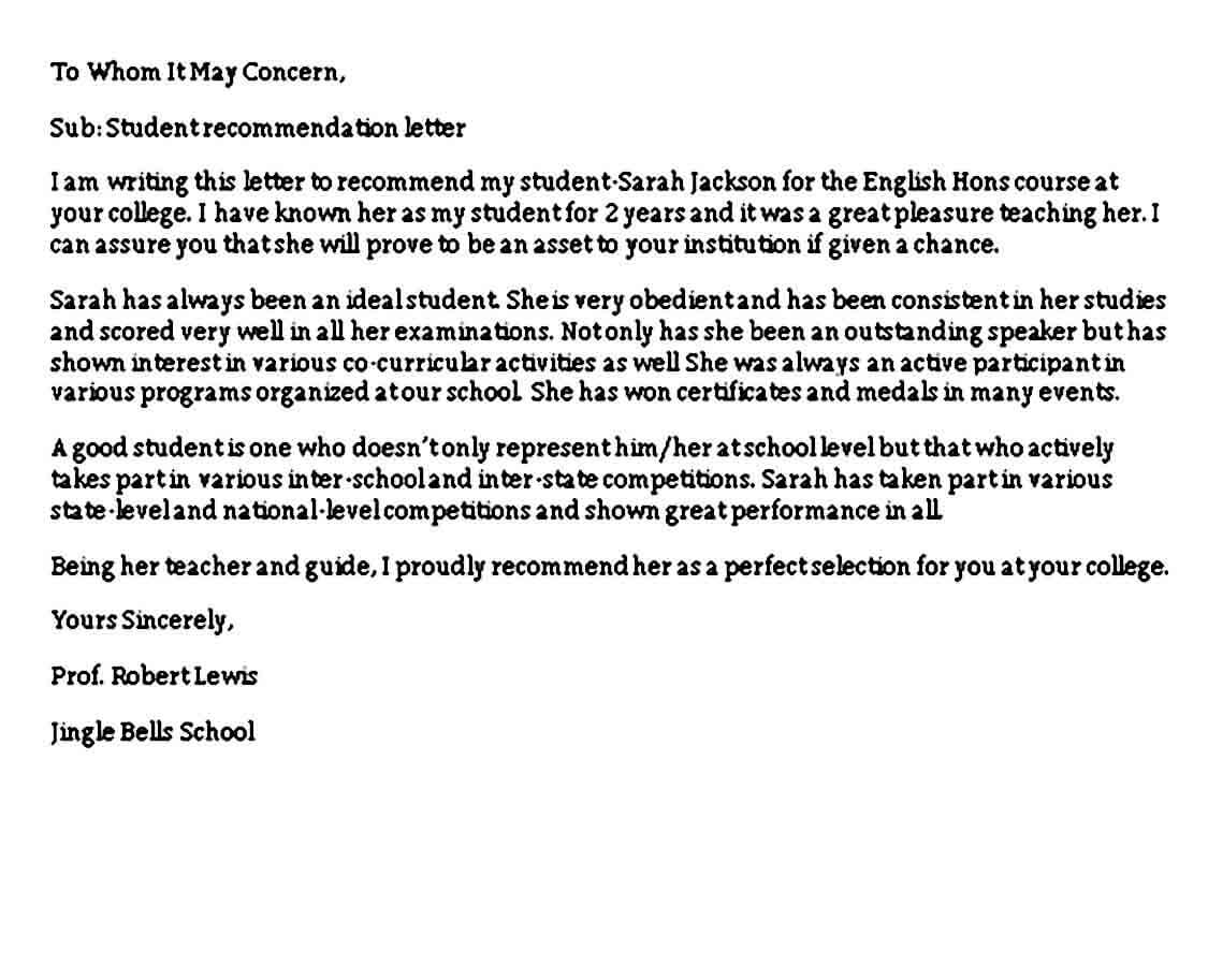 Recommendation Letter Sample For Student