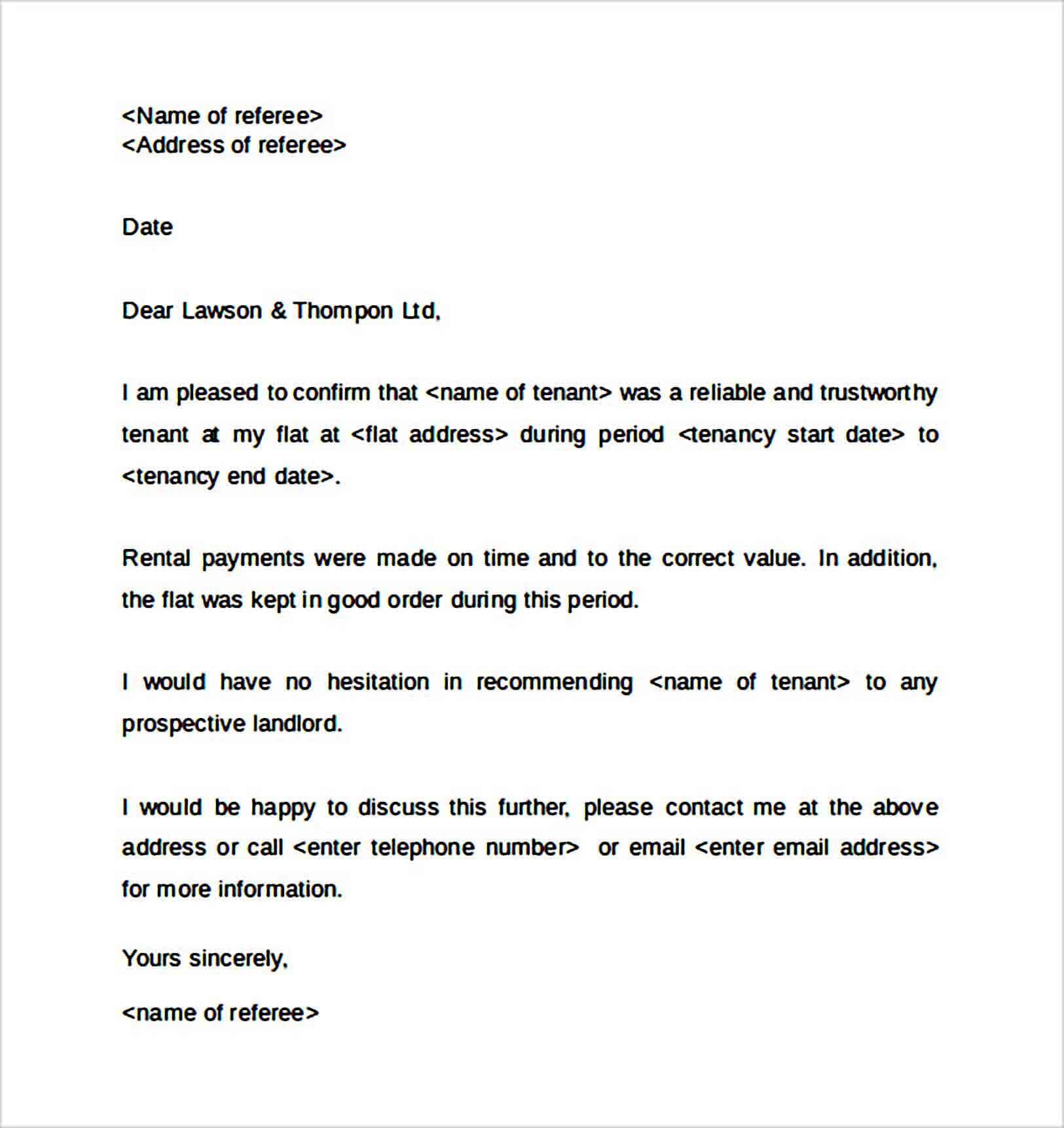 Reference Letter for Landlord