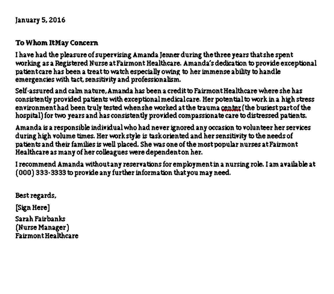 Reference Letter for Nursing Student