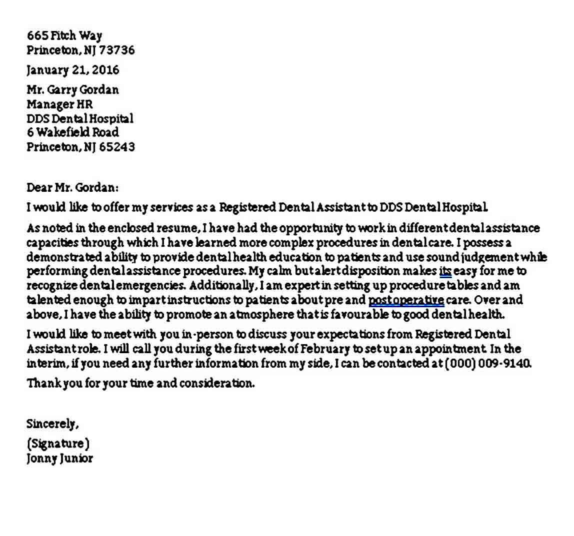 Registered Dental Assistant Cover Letter