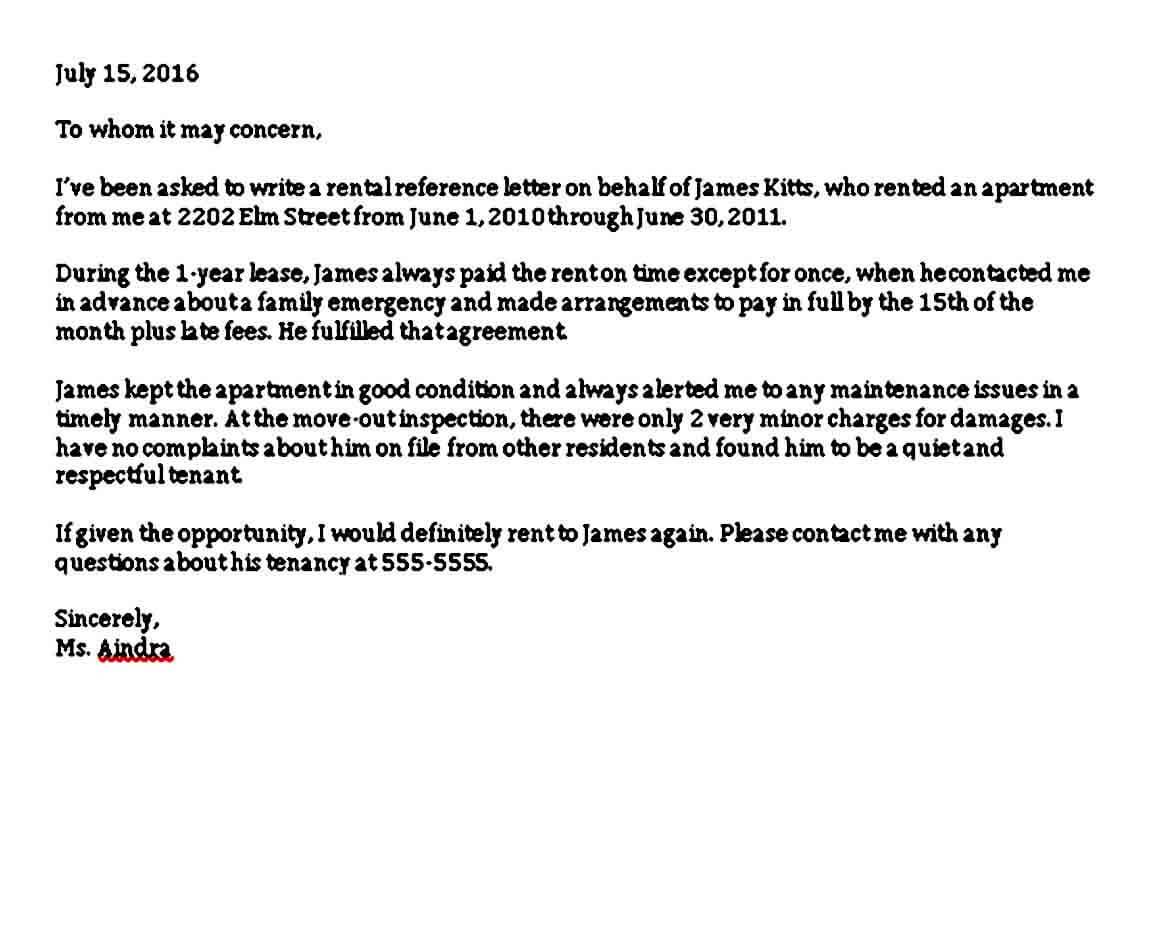 Rental Application Reference Letter