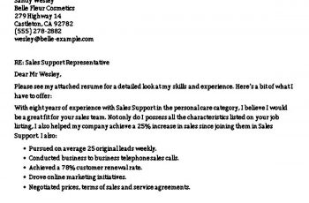 Sales Support Associate Cover Letter Example CEL