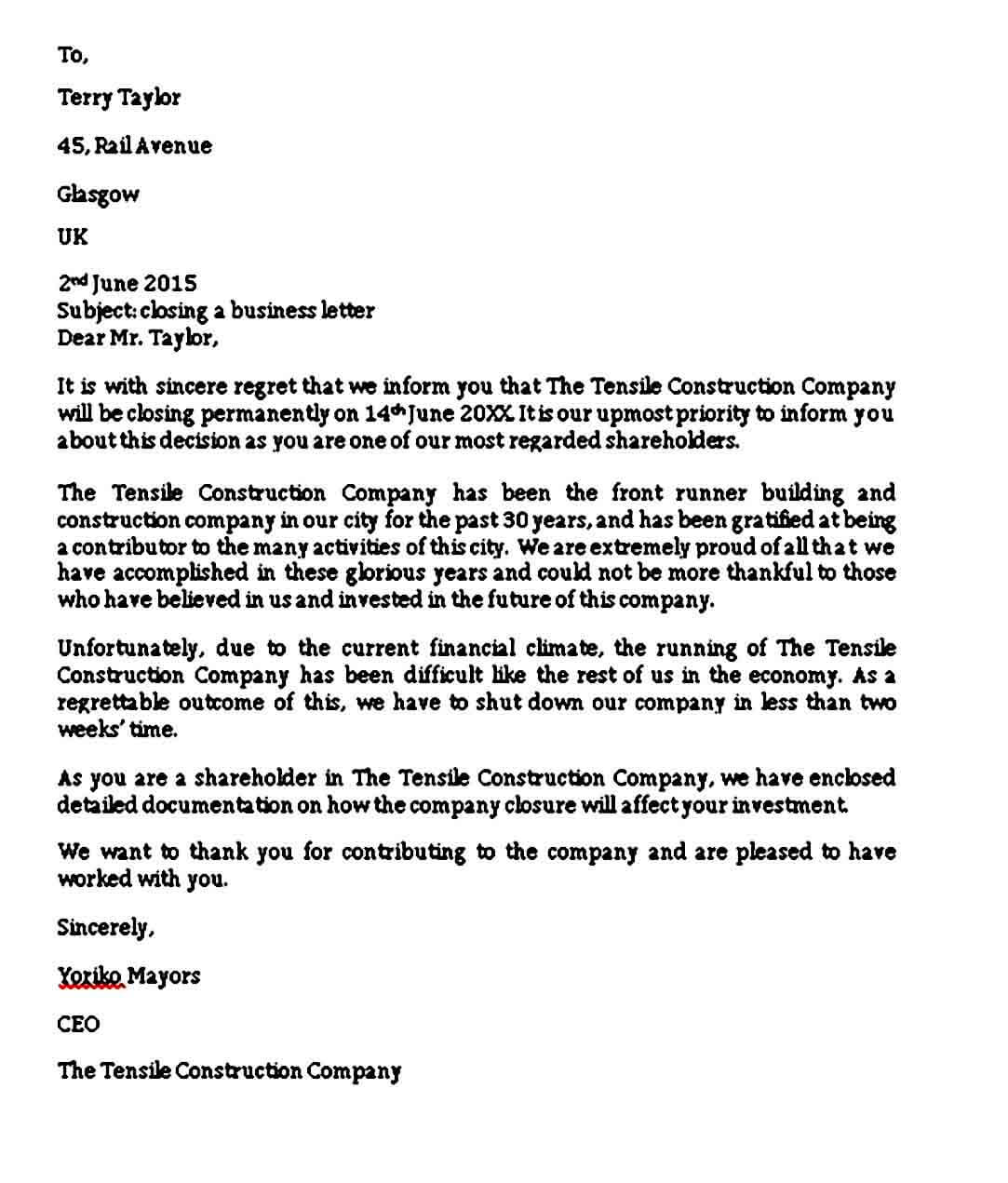 Sample Closing Business Letter Format