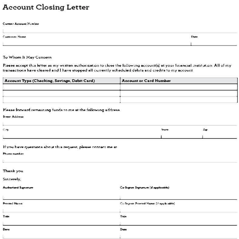 Sample Closing a Business Account Letter