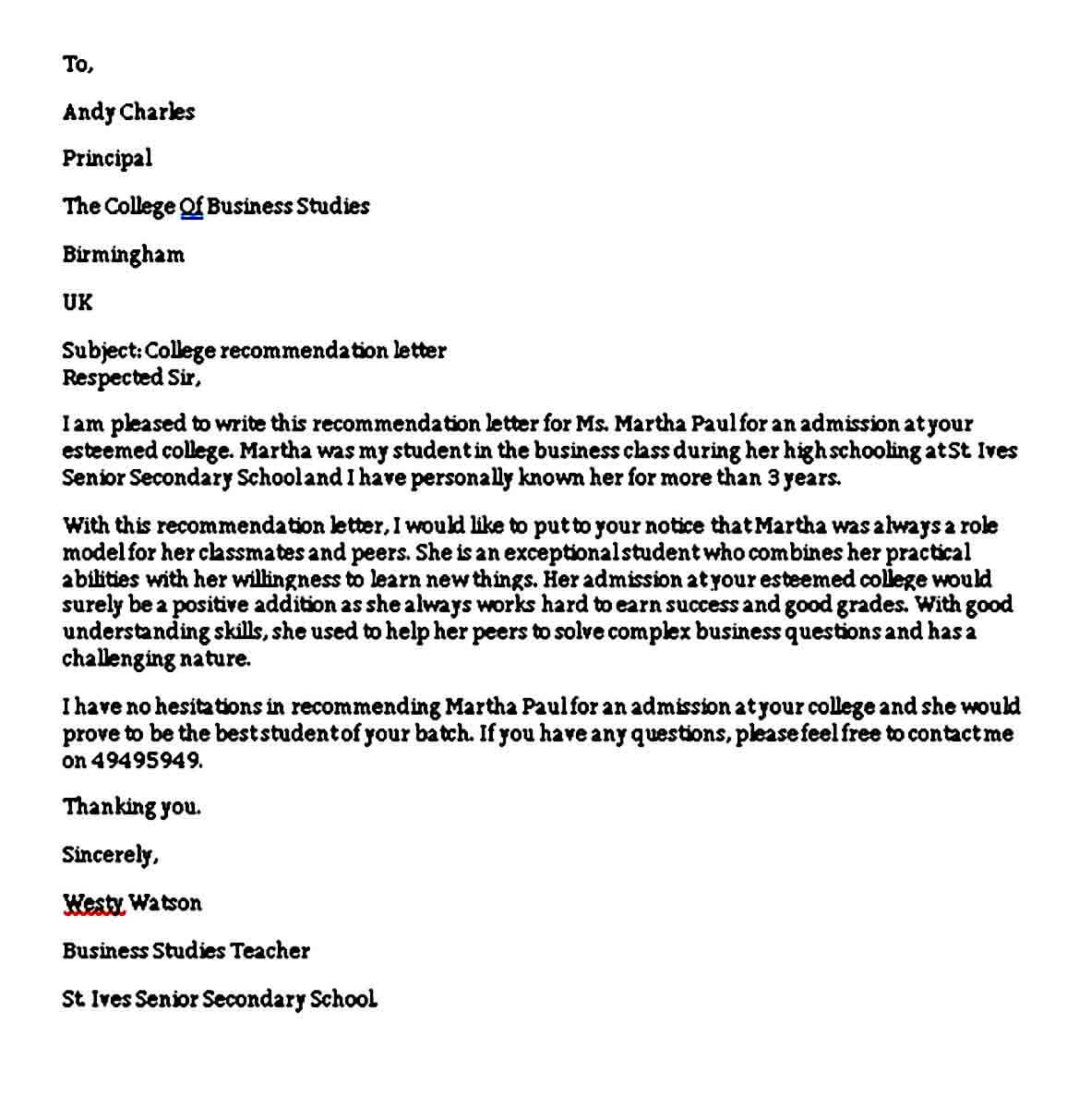 Sample College Recommendation Letter