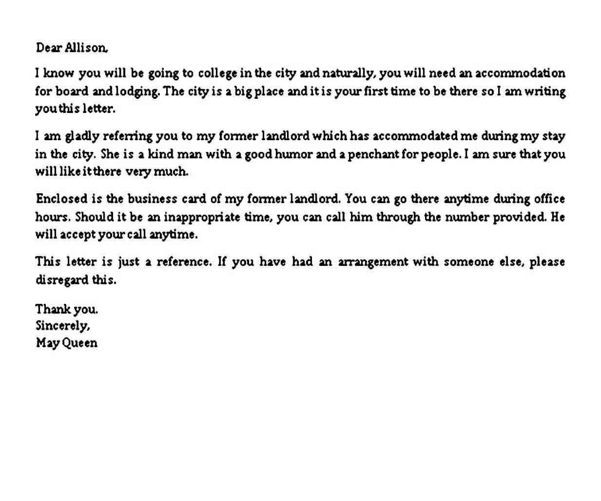 Sample Landlord Reference Letter
