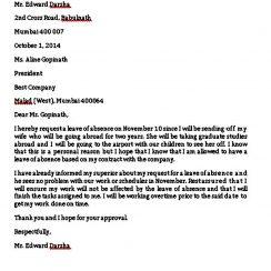 Sample Leave Absence Letter