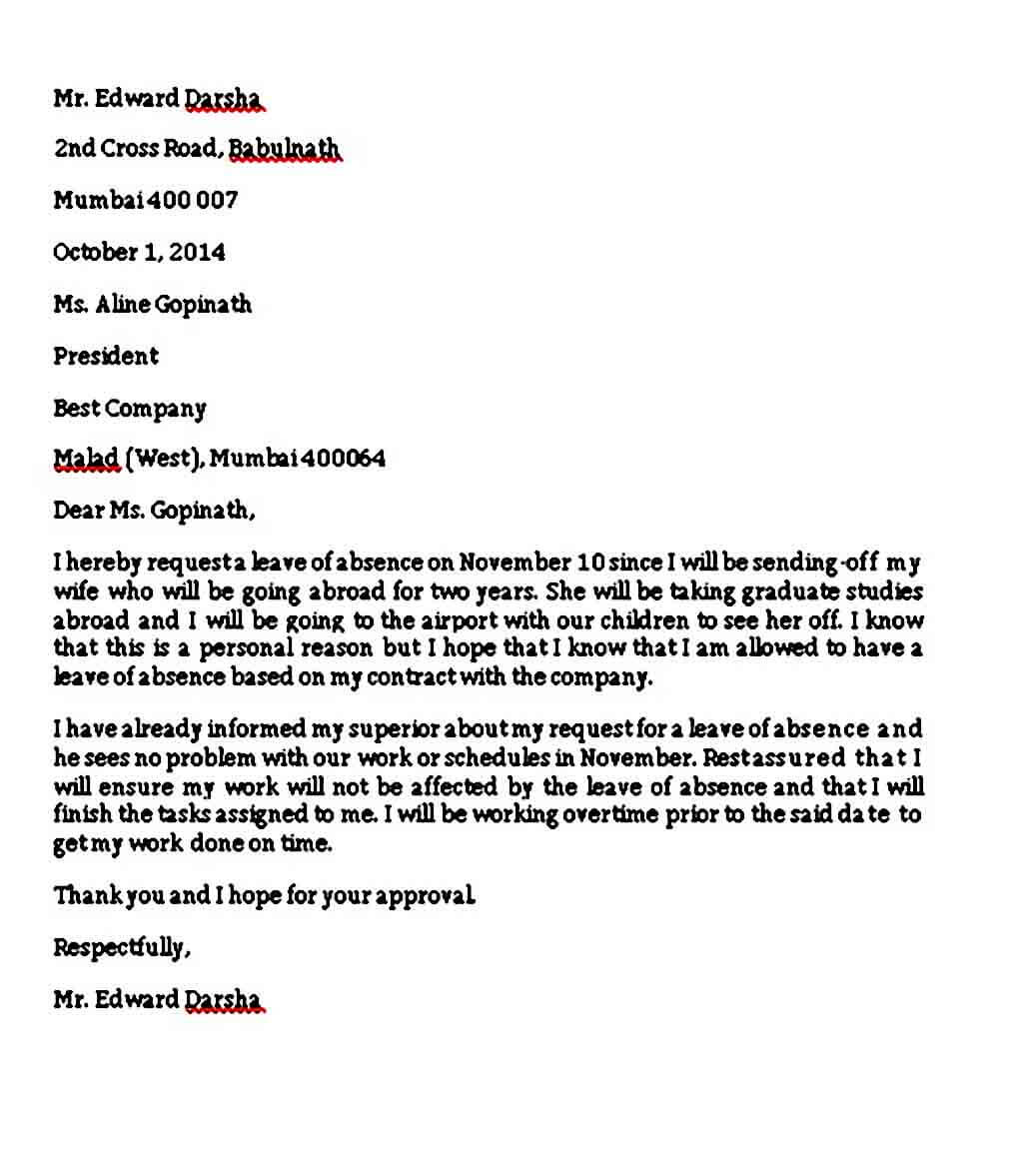 Sample Leave Absence Letter