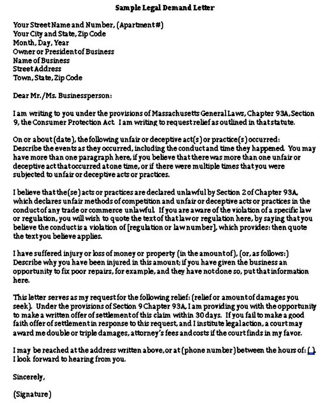 Sample Legal Demand Letter