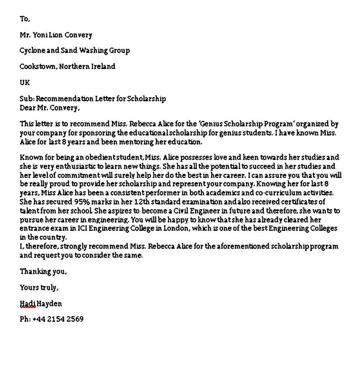 Example Letter Of Recommendation For Scholarship from moussyusa.com