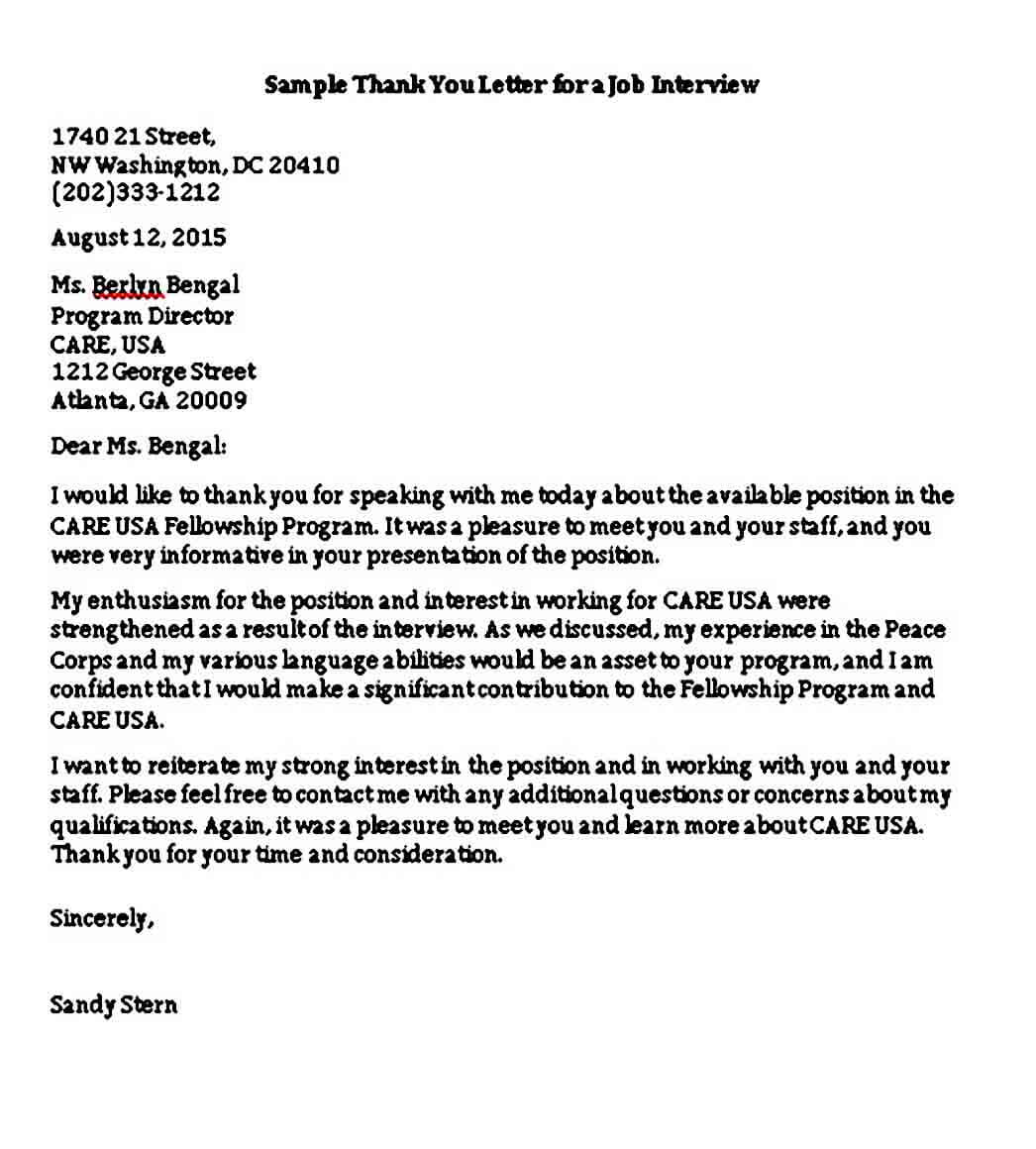 Sample Thank You Letter for a Job Interview