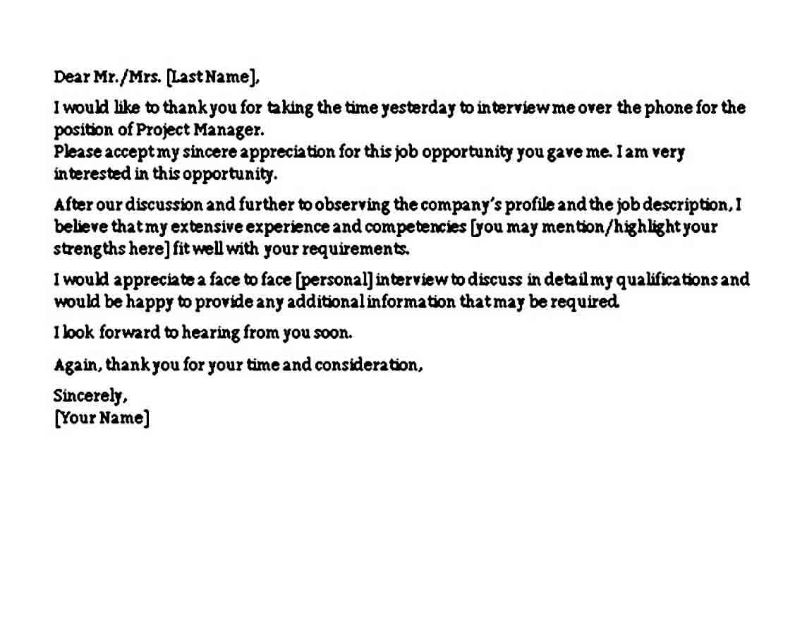Sample Thank you Letter after Phone Interview Email