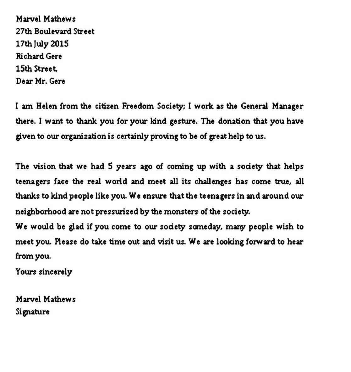 Sample professional letter Format