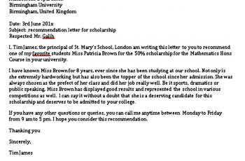 Scholarship Recommendation Letter From principal