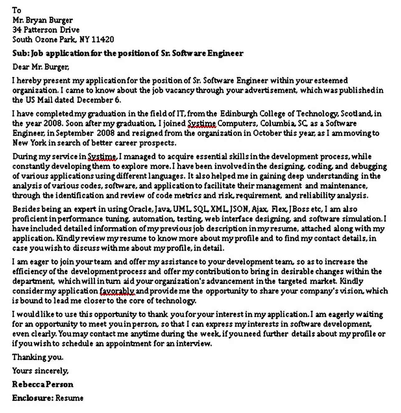 Senior Software Engineer Cover Letter