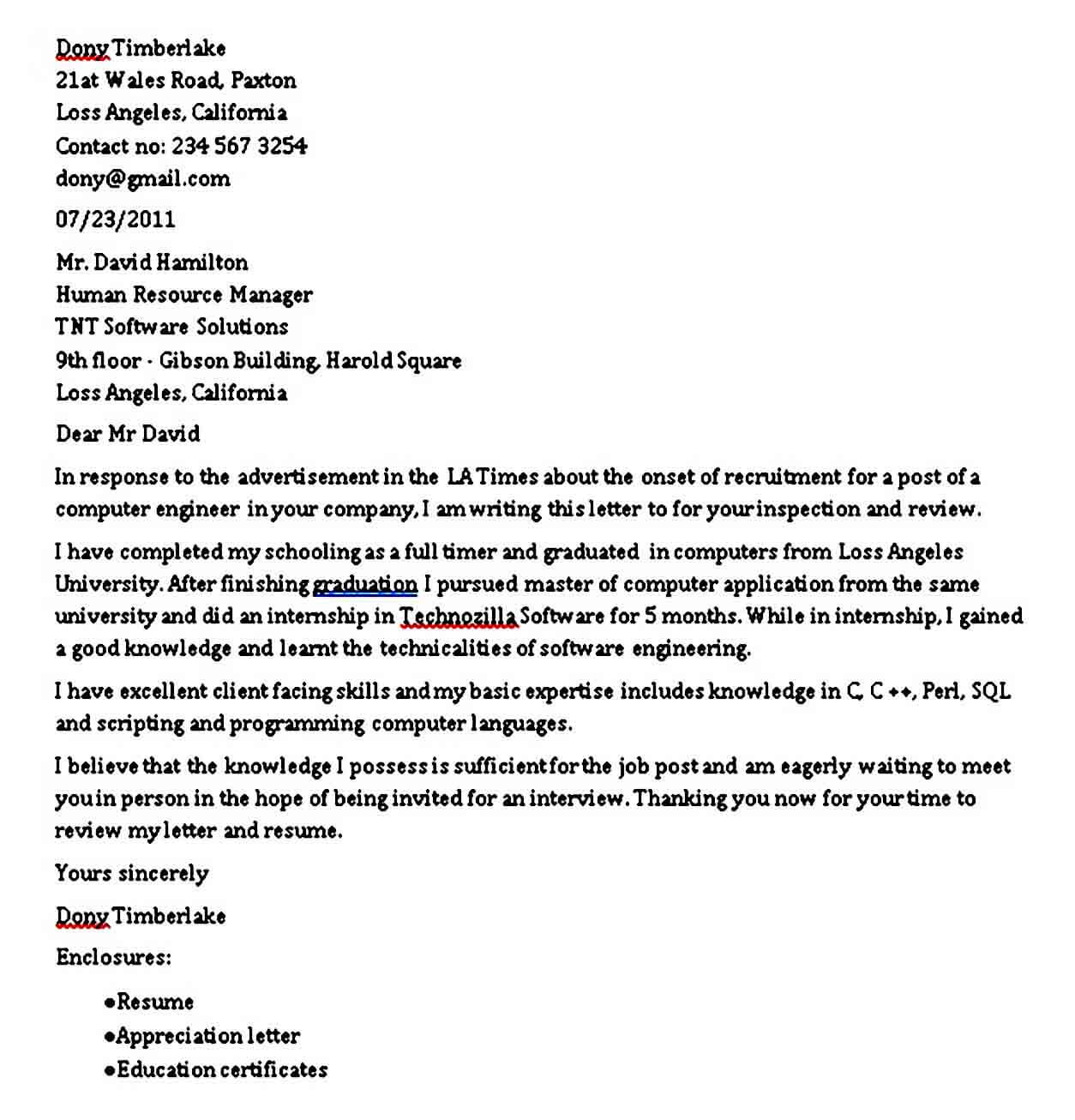 Software Engineer Fresher Cover Letter
