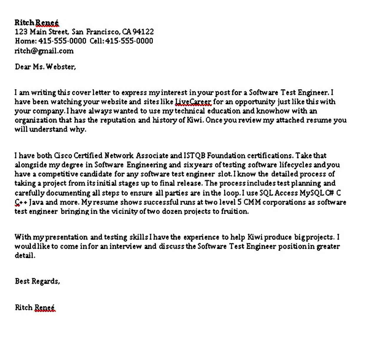 Software Test Engineer Cover Letter