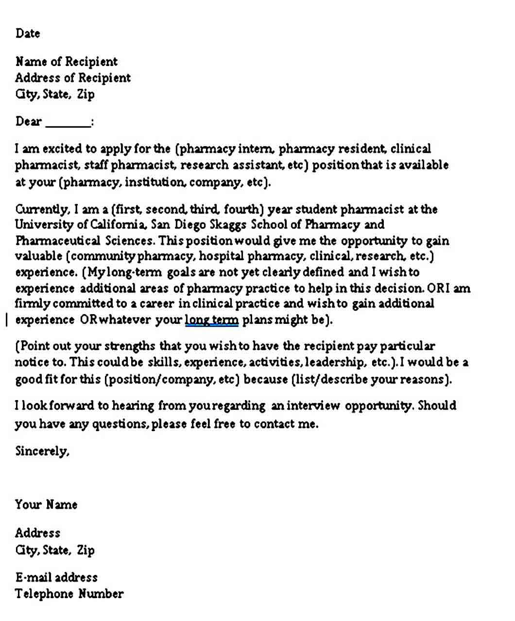 Reference Letter For Pharmacy Technician: 4+ Sample Pharmacy Technician Letter PDF Word