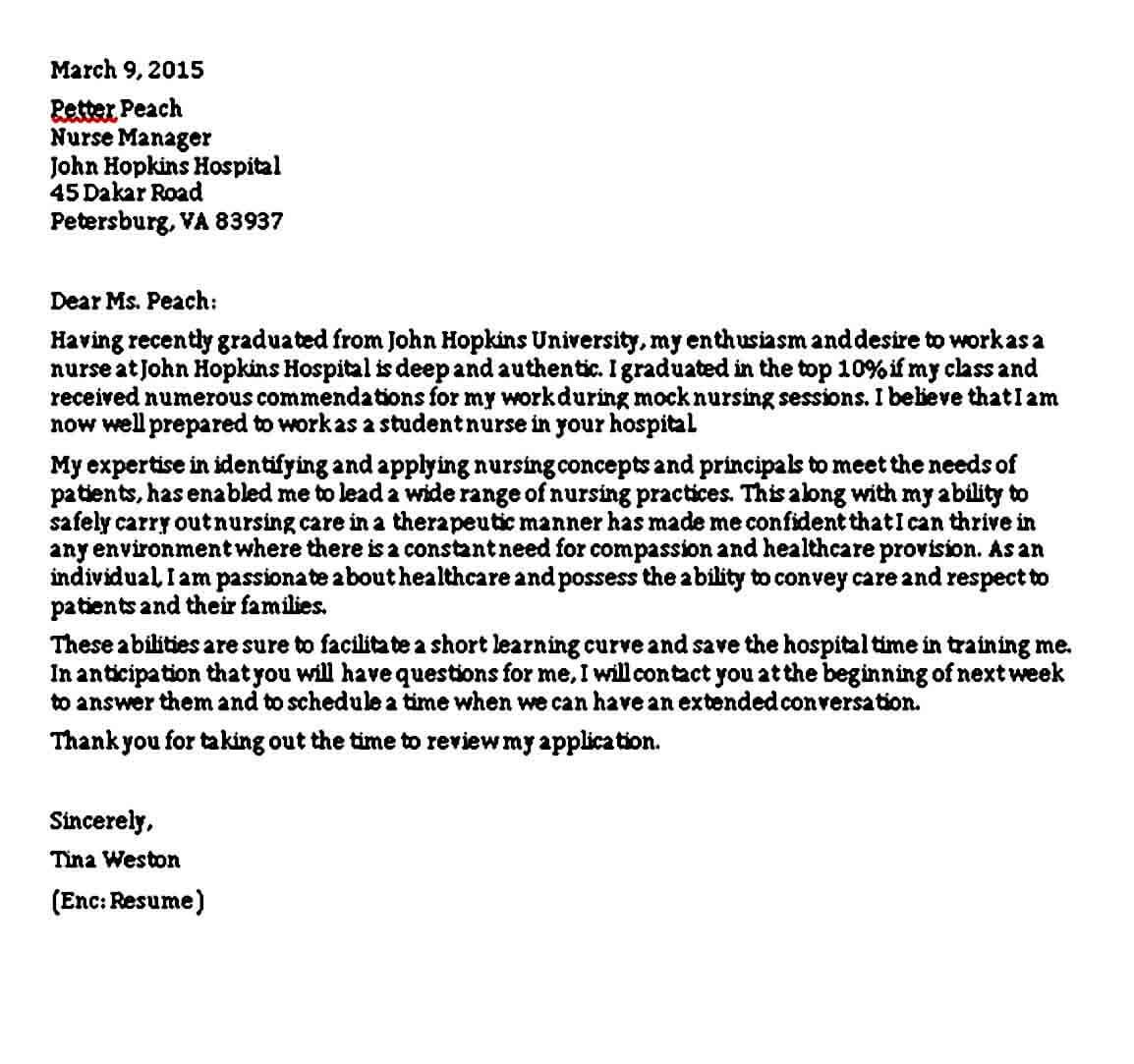 Student Nursing Reference Letter