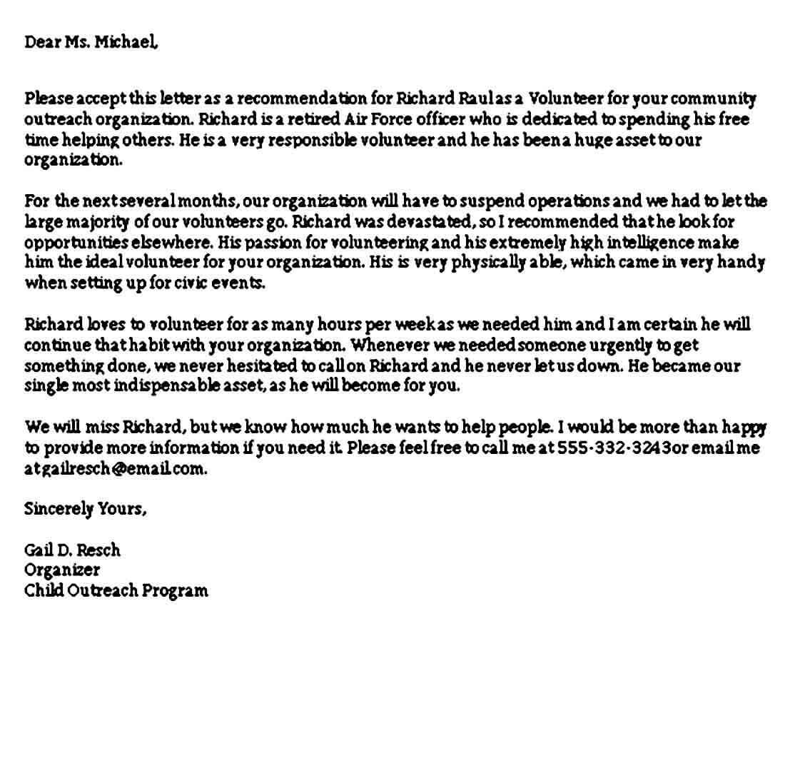Teacher Volunteer Reference Letter