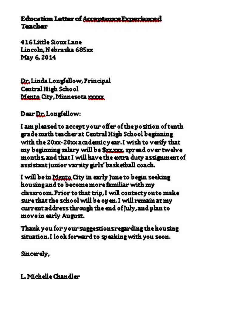 Teaching Job Acceptance Letter