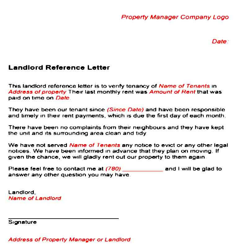 Tenancy Landlord Reference Letter