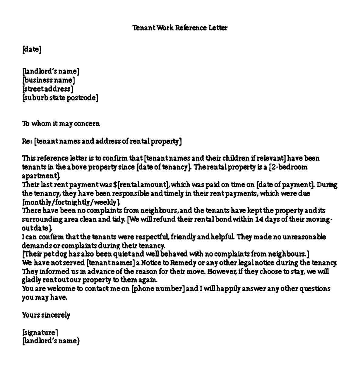 Tenant Work Reference Letter