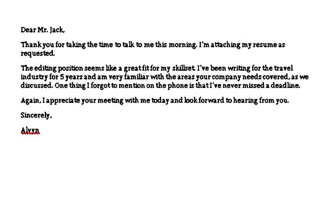 Thank You Letter after Phone Interview design