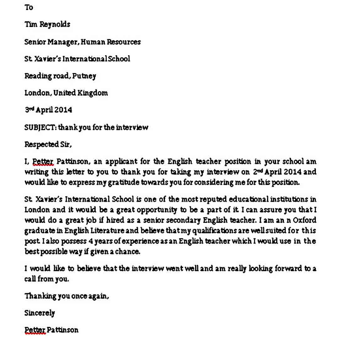 Thank You Letter after Phone Interview dhj
